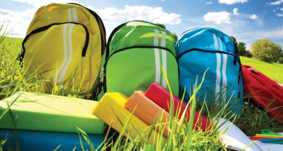 Three colourful backpacks sit in the grass on a sunny day