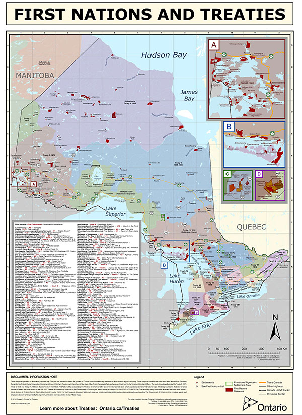 A map of Ontario indicates First Nations and treaties