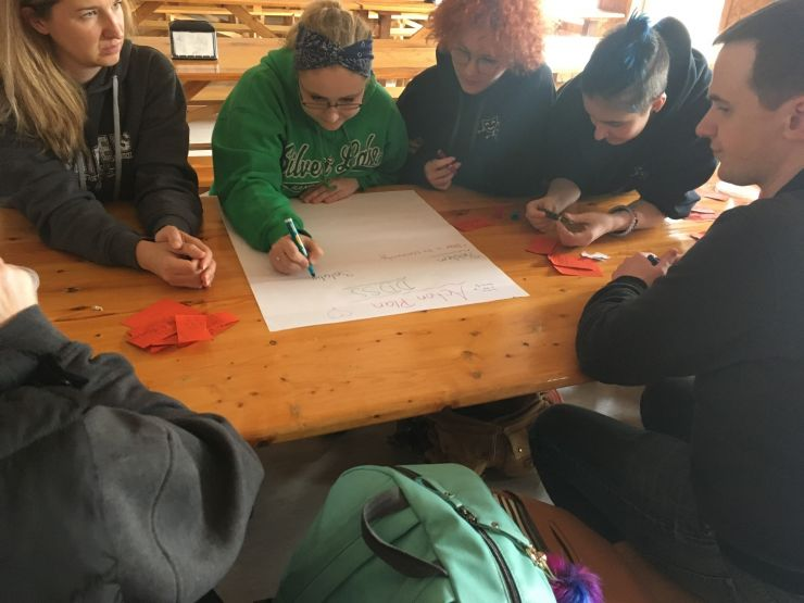 A small group of students writes down ideas on a large paper