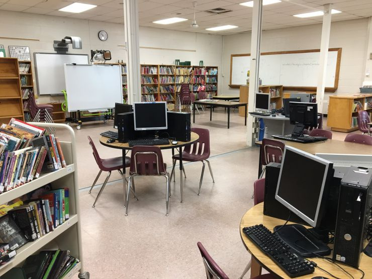 The Learning Commons at Burford District Elementary School includes technology hubs