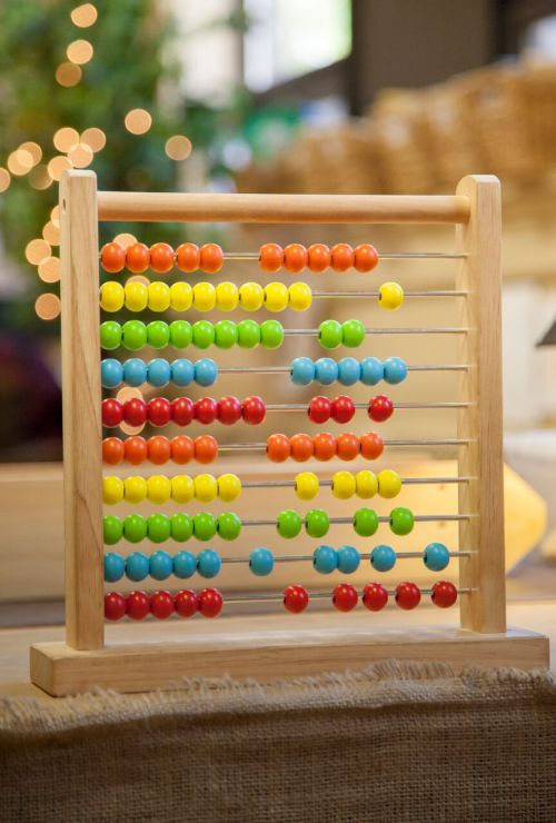 A colouful abacus toy used for counting