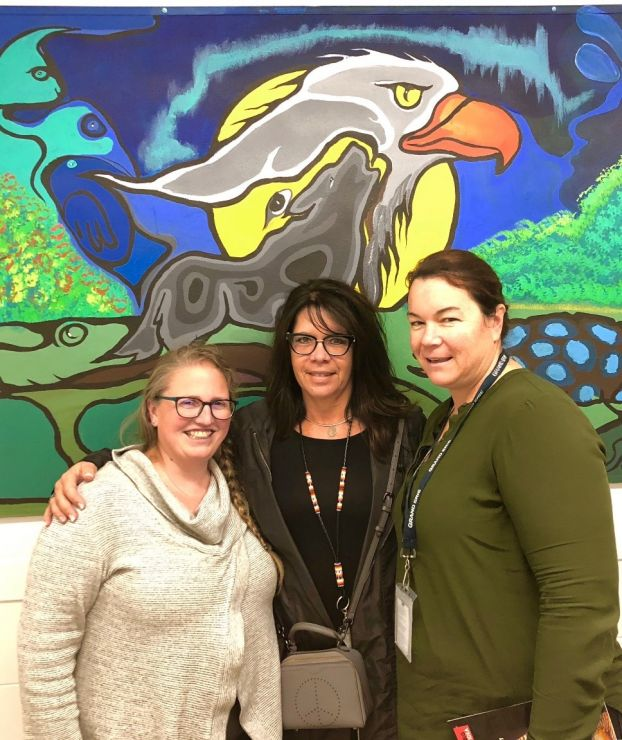 Three women pose in front of an Indigenous art mural